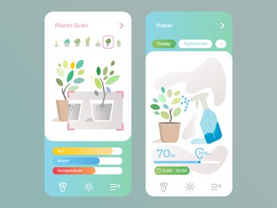 Plants care ui 2d leaf app design health water care plants