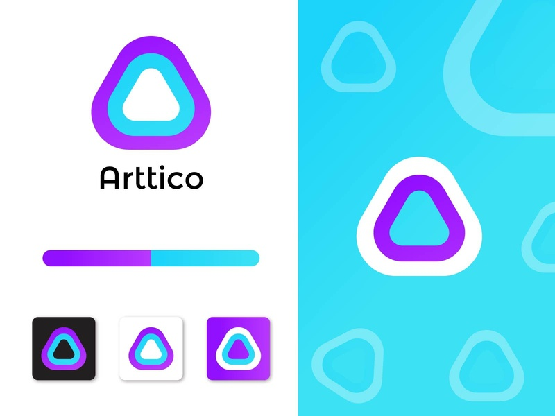 Arttico Modern logo Mark clean logo idea graphic logo designer logo mark dribbble abstract logotype minimal logo trends 2020 colorful branding brand corporate modern app design logos brand identity logo