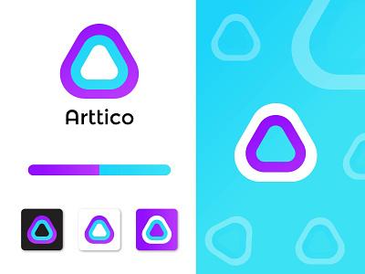 Arttico Modern logo Mark clean logo idea graphic logo designer logo mark dribbble abstract logotype minimal logo trends 2020 colorful branding brand corporate modern app design logos brand identity logo