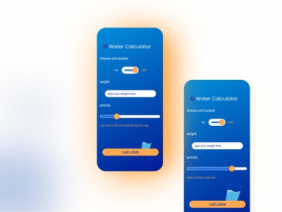Water consumption calculator webdesign mobiledesign mobile ui calculator design calculator ui app ui app uiuxdesigner uiux design uiux dailyui dailyuichallenge
