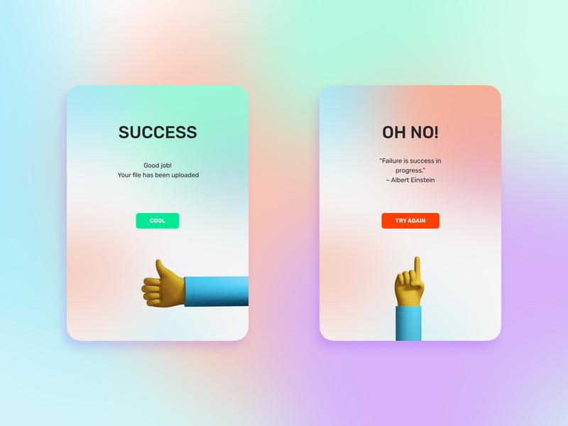 Flash Message ui 3d hands design error success webdesign uidesign uiux flash message dailyuichallenge dailyui011 dailyui