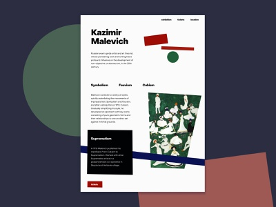 Malevich Exhibition Landing shapes malevich suprematism landingpage exhibition branding graphic design webdesign ui web design