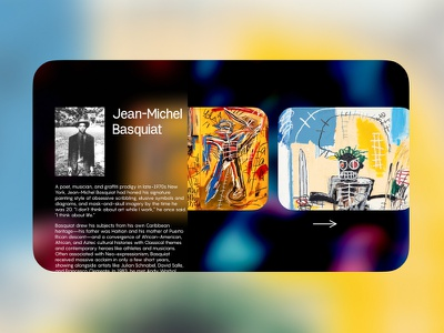 Artist Profile horizontal blur layout museum profile glass uidesign design web