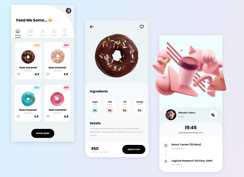 Glacé - A Donut App cards ui iconography hues vibrant sweet gradient donut 3d branding colorful color minimal design ui app userinterface ui design