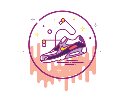 Sneaker and earphones headphones sporty health lifestyle sport move line icon icon earphones sneaker nike