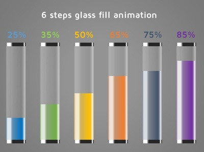 Glass fill infographics flat minimal animation logo design branding illustration info-graphics