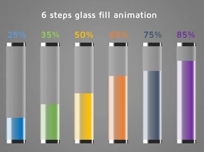 Glass fill infographics flat minimal animation logo design branding illustration info-graphics