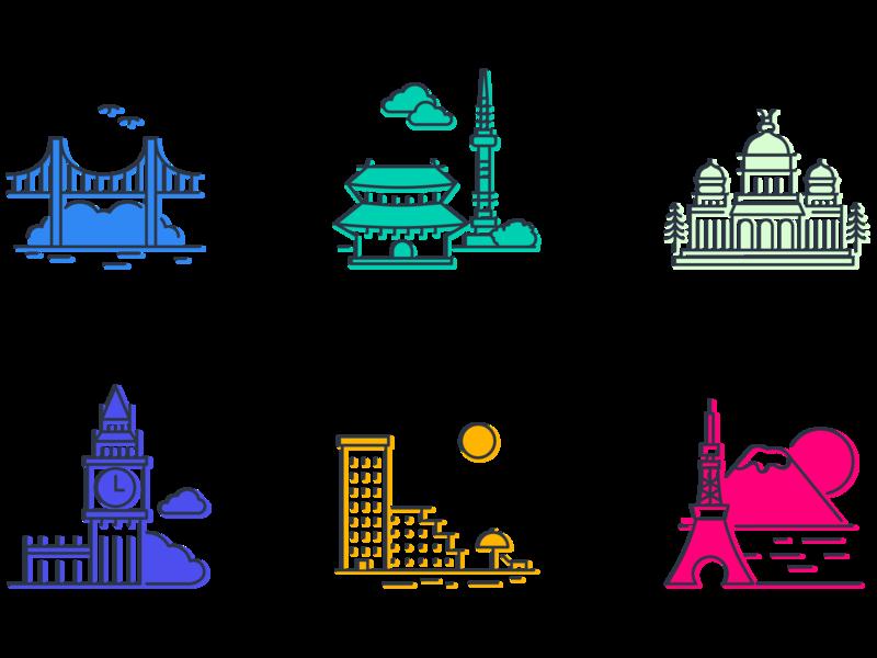Office locations illustrator illustration vector icons bangalore tokyo london seoul san francisco tel aviv