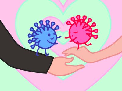Sick love love coronavirus virus character vector art comic childish illustration