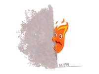 Calcifer calcifer shy fire art comic character childish illustration