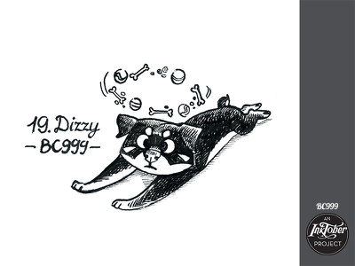 day19 inktober dizzy inktober2020 inktober dog art ink animal comic bw childish character illustration