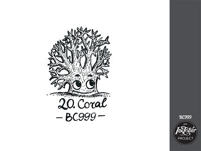 day 20 inktober coral inktober2020 inktober art ink comic bw childish character illustration