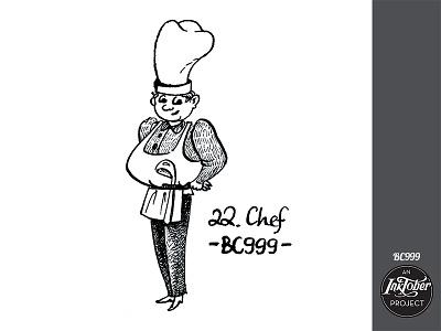 day22 inktober man chef inktober2020 inktober human art ink comic bw character childish illustration