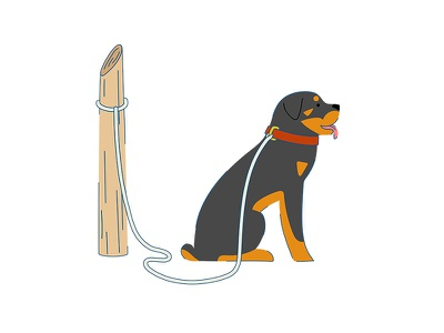 A dog flat flat illustration vector dog art comic animal childish character illustration