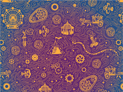 Pattern for board game box gravure steampunk circus vector branding design art childish illustration