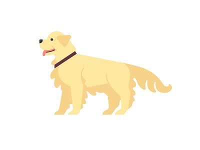 Rebound of Owen Davey's doggy, my vision golden retriever pet retriever dog logo design animal childish character illustration