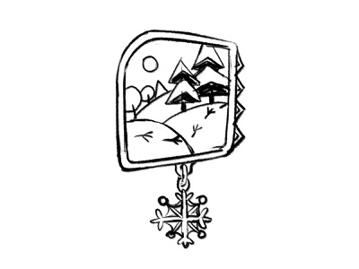 Sketch of the winter badge snowflake snow winter logo design ink bw childish illustration