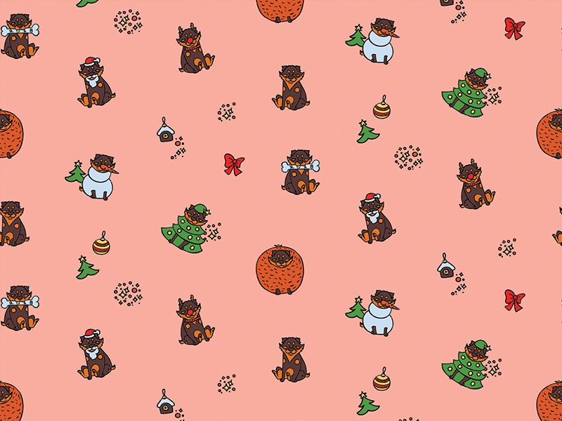 New year pattern christmas xmas holyday newyear puppy character cartoon illustration dog playoff typehue pattern