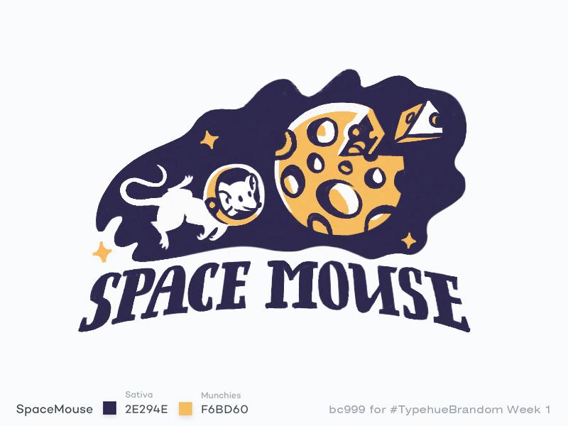#Typehue Brandom 1 typehuebrandom cosmonaut moon cheese animal mouse star space design illustration logo