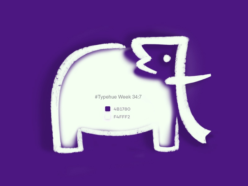 #Typehue Week 34: 7 typehueweek illustration stylization animal elephant 7 seven