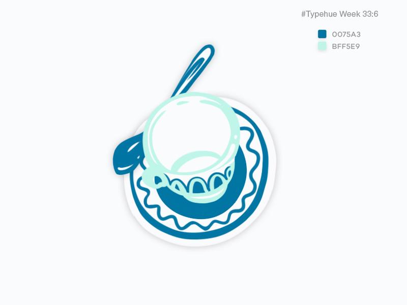#Typehue Week 33: 6 stylization drink breakfast tea saucer spoon cup 6 six