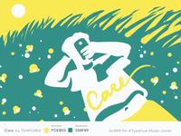 #Typehue 5 Care Album lettering smartphone green grass sunshine sun meadow illustration cover music