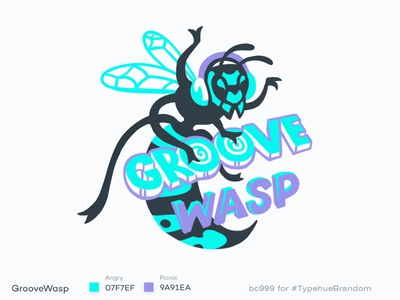 #Typehue 6 GrooveWasp music dj groove lettering logotype logo insect wasp