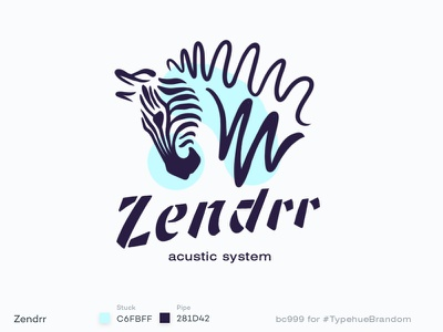 #Typehue 7 Zendrr lettering logotype music line sound wave animal zebra logo branding