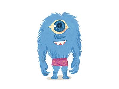 Characters-4 eye monster mithology cyclop childish comic character illustration