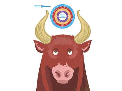 Bull game wildwest bull childish animal character illustration