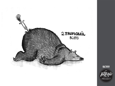 Day2 Inktober Tranquil inktober2018 inktober snore dreaming dream sleep asleep injection tranquil bear childish ink animal comic bw character illustration