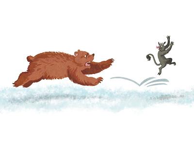 Belarusian fairy-tale2 winter run catching imp devil demon bear animal childish character illustration