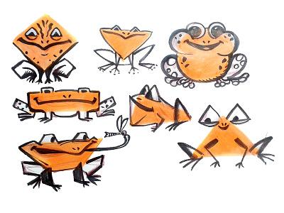 Frogs stylization comic cartoon stylization ink frog animal character childish illustration