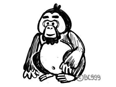 Orangutan sketch monkey orangutan ape sketch bw animal childish character illustration