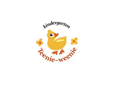 Kindergarten logo kindergarten flower duckling duck bird childish branding vector design logo animal character illustration