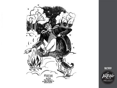 day4 inktober inktober2019 night campfire fire husky dog art inktober human ink comic bw animal childish character illustration