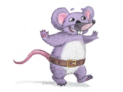 Koala in a fancy dress dress newyear rat koala design comic animal childish character illustration