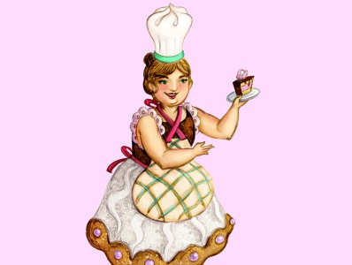 madam Meringue cook woman sweet cake meringue art design human comic childish character illustration