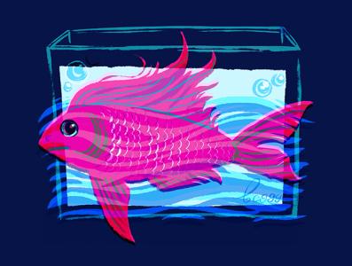 fish in tank art design water tank fish animal childish illustration