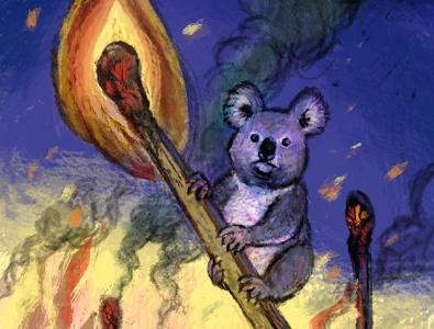 Koalas are in trouble koala bear wildfire match wwf nature fire koala comic art animal childish character illustration