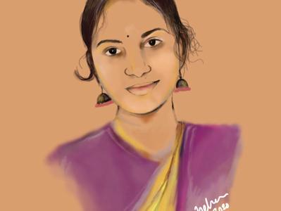 Indian Beauty minimal app design illustration vector