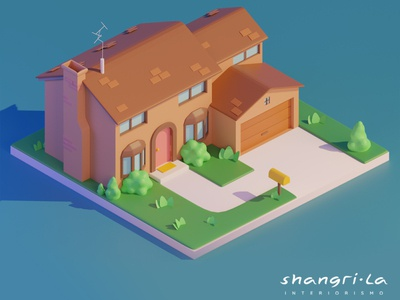 Simpsons House blendercycles house design simpson blender 3d lowpolyart lowpoly blender3d blender