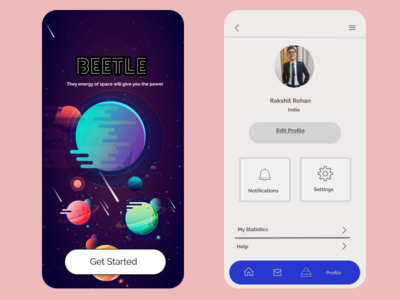 Landing Page and Profile Page of an app ux ui minimal illustrator illustration icon figma designs design app
