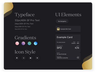 WeatherCare — Mini-Style Guide ux tasks schedule assistant calendar fluid cards tabs machine learning artificial intelligence personal flights luxury fashion typography icons dots style neumorph