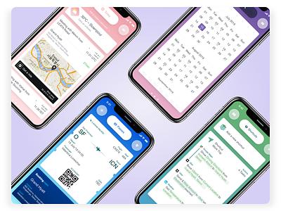 WeatherCare- App Screens app travel accessibility gesture bounce juicy pastel gradient flight widget weather uber type schedule icon cards calendar business assistant