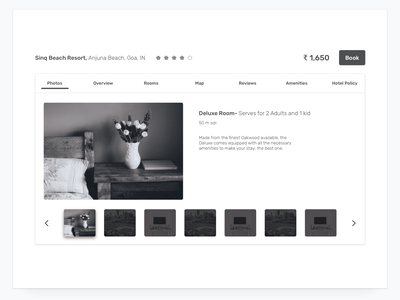 Hotel Details component gallery scroll tab details overview wireframe vacation hotel