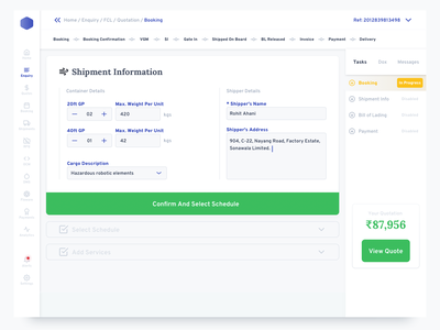 5. Dashboard Booking shipping delivery package dashboard sass enterprise ui sidebar form field type table minimal white port map data navigation invoice payment