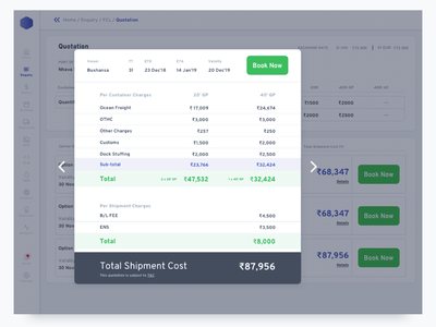 4.5. Dashboard Quote Pop-up payment invoice navigation data map port white minimal table type field form sidebar ui enterprise sass dashboard package delivery shipping