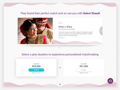 Shaadi Personalised Testimonial plant pricing card button couple cute romance love marriage content illustration human gradient ui message app tinder bumble membership copywriting