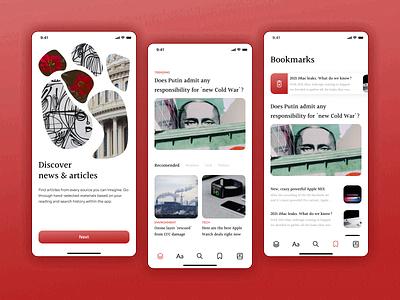 News & Article App onboarding ui onboarding mobile app uxui ux concept ui design news newsfeed news app ui article reader article news app